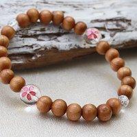 桜腕念珠 天然木 さくら チェリー ナチュラルウッド 腕輪 約8mm 品番:11007