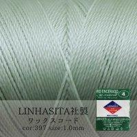 ワックスコード LINHASITA社製 マカロングリーン 1.0mm 約160m  ロウ引き紐 LINHASITAカラーナンバー397  品番: 12024