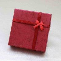 プレゼント ギフト ボックス レディース リボン付き ペーパーボックス 紙箱 ワイン 濃赤  品番:12100