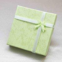 プレゼント ギフト ボックス レディース リボン付き ペーパーボックス 紙箱 グリーン 緑  品番:12101