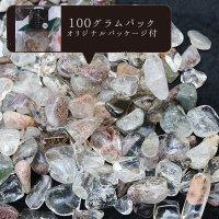 さざれ ガーデンクォーツ 癒し 精神安定 オリジナルパッケージ付 100gパック 9〜12mm 品番:12217