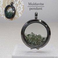 ペンダントトップ ダークシルバー モルダバイト モルダウ石 さざれ 緑 グリーン 品番: 11987