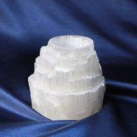 セレナイト キャンドルホルダー 約7.5cm 浄化 癒し 冷静 品番:12269