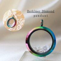 ペンダントトップ ハーキマーダイヤモンド レインボー 夢見の石 さざれ 夢を現実化 出産のお守り 品番:12344
