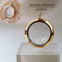 ペンダントトップ ハーキマーダイヤモンド ゴールド 夢見の石 さざれ 夢を現実化 出産のお守り 品番:12342