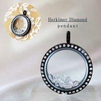 ペンダントトップ ハーキマーダイヤモンド 石有ブラック 夢見の石 さざれ 夢を現実化 出産のお守り 品番:12346