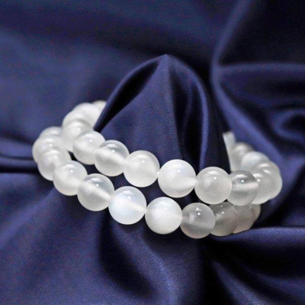 画像1: ブレス ホワイトムーンストーン クリアタイプ 約9mm 平和 穏やかさ 癒し 恋愛 品番:12375