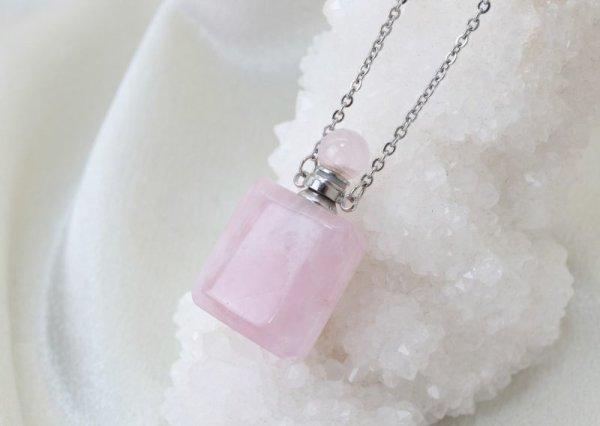 画像3: 香水瓶 ネックレス ローズクォーツ 角型 シルバー 持ち歩き 恋愛 美しさ 品番: 12421