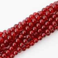 連 プレス 琥珀 アンバー(着色レッド) 丸  6mm  赤色 癒し 健康 成功 エネルギー 活性化 金運 精神安定 品番: 9514