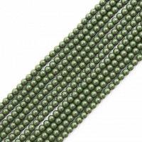 連 北投石(緑)丸 4mm ラウンド 健康 美容 血行促進 薬石 マイナスイオン リラックス 品番: 12459