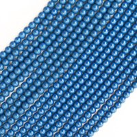 連 北投石(青)丸 4mm ラウンド 健康 美容 血行促進 薬石 マイナスイオン リラックス  品番: 12441
