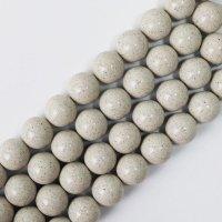 連 北投石 (白) 茶色 丸 16mm ラウンド 健康 美容 血行促進 薬石 マイナスイオン リラックス 品番: 12460