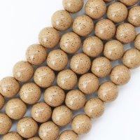 連 北投石 (イエローグレー) 茶色 丸 14mm ラウンド 健康 美容 血行促進 薬石 マイナスイオン リラックス 品番: 12443