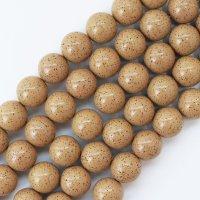 連 北投石 (イエローグレー) 茶色 丸 16mm ラウンド 健康 美容 血行促進 薬石 マイナスイオン リラックス 品番: 12444