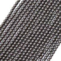 連 北投石(黒)丸 4mm ラウンド 健康 美容 血行促進 薬石 マイナスイオン リラックス  品番: 12442