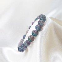 ブレス フローライト バイカラー 丸 約9mm前後 パープル グリーン ラウンド 癒し 浄化 天然石 ブレスレット 品番: 12477