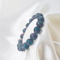 ブレス フローライト バイカラー 丸 約12mm前後 パープル グリーン ラウンド 癒し 浄化 天然石 ブレスレット 品番:12480