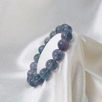 ブレス フローライト バイカラー 丸 約12.5mm前後 パープル グリーン ラウンド 癒し 浄化 天然石 ブレスレット 品番:12482