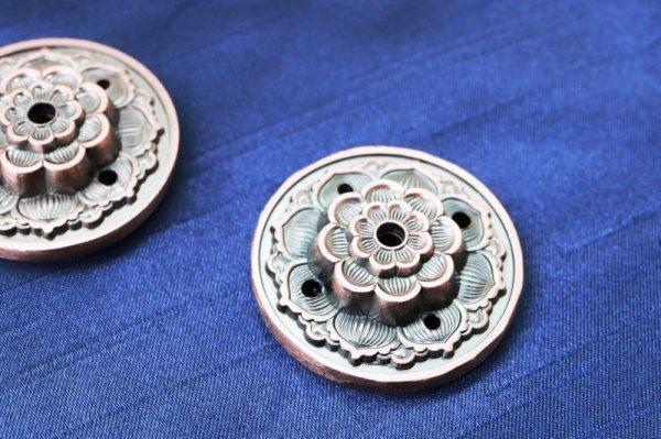 画像2: 真鍮製 お香立て 蓮の花 赤 真鍮製受け皿などに♪ しんちゅう 合金 真鍮製 置物 彫り物 品番: 12492
