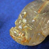 ロングイ 龍亀 タイチンルチル ルチルクォーツ 置物 彫り物 金運 正財運 風水 品番: 12365