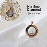 ペンダントトップ ピンクゴールド ハーキマーダイヤモンド 小 ドリームクリスタル パワーストーン 品番:12563