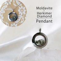 ペンダントトップ シルバー モルダバイト×ハーキマー 小 モルダウ石 さざれ 緑 グリーン 品番:12564