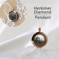 ペンダントトップ ピンクゴールド モルダバイト×ハーキマー 小 モルダウ石 さざれ 緑 グリーン 品番:12566