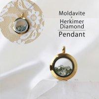 ペンダントトップ ゴールド モルダバイト×ハーキマー 小 モルダウ石 さざれ 緑 グリーン 品番:12565