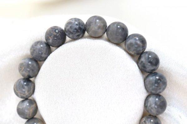 画像2: 【日本銘石】ブレス 美ら海石 〈沖縄県〉 約10mm ブラックグレー 癒し 浄化 清らか 品番:12643