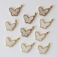 ドゥルージー GLバタフライチャーム 薄ピンク ゴールド 真鍮 パーツ 素材 天然石 アクセサリー 品番:6669