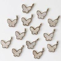 ドゥルージー GLバタフライチャーム 薄ピンク シルバー 真鍮 パーツ 素材 天然石 アクセサリー 品番:7381