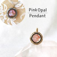 ペンダントトップ 石有ゴールド ピンクオパール 小 キューピッドストーン ピンク パワーストーン 品番:12769