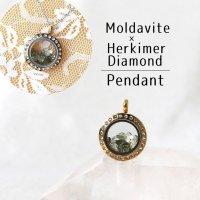 ペンダントトップ 石有ゴールド モルダバイト×ハーキマーダイヤモンド 小 さざれ モルダウ石 ドリームクリスタル 品番:12781