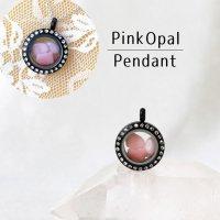 ペンダントトップ 石有ブラック ピンクオパール 小 キューピッドストーン ピンク パワーストーン 品番:12771