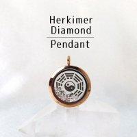ペンダントトップ ピンクゴールド ハーキマーダイヤモンド 大 八卦太極図 さざれ 品番:12874