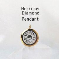ペンダントトップ ゴールド ハーキマーダイヤモンド 大 八卦太極図 さざれ 品番:12870