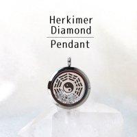 ペンダントトップ シルバー ハーキマーダイヤモンド 大 八卦太極図 さざれ 品番:12872
