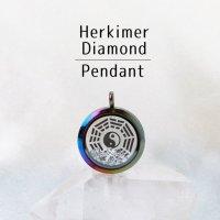 ペンダントトップ レインボー ハーキマーダイヤモンド 大 八卦太極図 さざれ 品番:12878
