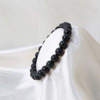 ブレス ヒマラヤンブラック 〈インド〉 8mm 黒 精神を高める 集中力 品番:12886