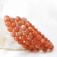 ブレス オレンジムーンストーン 丸 8mm 人間の情緒 社交性 喜び 楽観的思考 天然石 品番: 13114