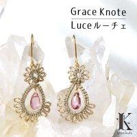 Grace Knote グレースノート Luce ルーチェ ピンクトパーズ GL ハンドメイド ピアス 手編みレース 天然石  ゴールド 品番:13128