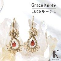 Grace Knote グレースノート Luce ルーチェ ガーネット GL ハンドメイド ピアス 手編みレース 天然石  ゴールド 品番:13129