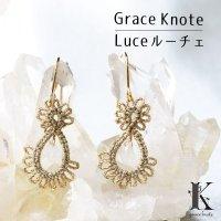Grace Knote グレースノート Luce ルーチェ ムーンストーン GL ハンドメイド ピアス 手編みレース 天然石 ゴールド 品番:13162