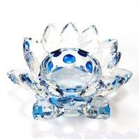 クリスタルガラス 蓮花台 お皿 中サイズ ブルーカラー 風水 置物 彫り物 品番:13305