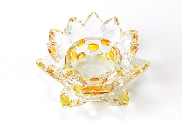 画像2: クリスタルガラス 蓮花台 お皿 中サイズ イエローカラー 風水 置物 彫り物 品番:13303