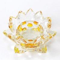 クリスタルガラス 蓮花台 お皿 中サイズ イエローカラー 風水 置物 彫り物 品番:13303