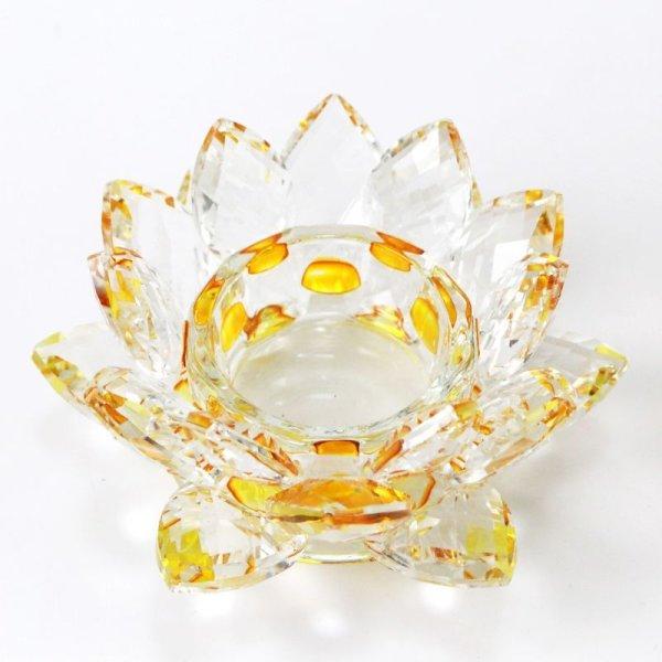 画像1: クリスタルガラス 蓮花台 お皿 中サイズ イエローカラー 風水 置物 彫り物 品番:13303