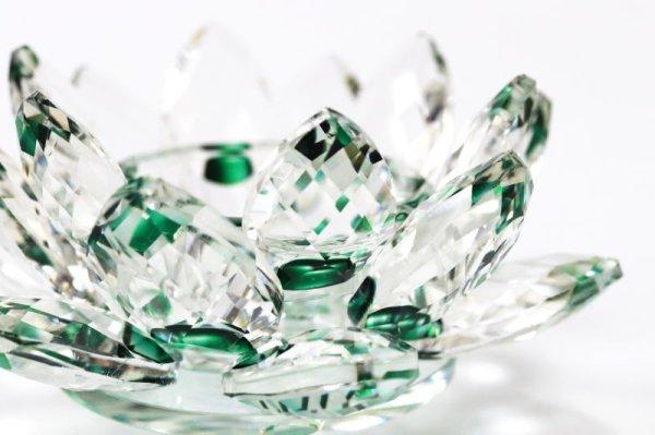 画像2: クリスタルガラス 蓮花台 お皿 中サイズ グリーンカラー 風水 置物 彫り物 品番:13304