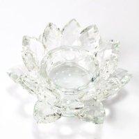 クリスタルガラス 蓮花台 お皿 中サイズ カラー無し(透明) 風水 置物 彫り物 品番:13308