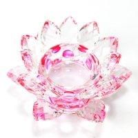 クリスタルガラス 蓮花台 お皿 中サイズ ピンクカラー 風水 置物 彫り物 品番:13306